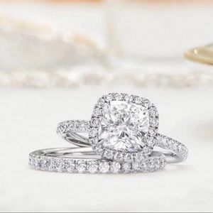 2pc platinum moissanite diamond ring set